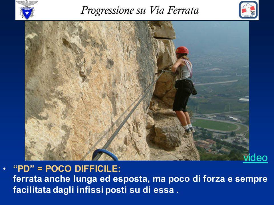 video PD = POCO DIFFICILE: ferrata anche lunga ed esposta, ma poco di forza e sempre facilitata dagli infissi posti su di essa .