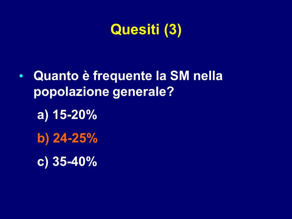 Quesiti (3) Quanto è frequente la SM nella popolazione generale