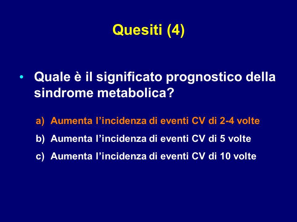 Quesiti (4) Quale è il significato prognostico della sindrome metabolica Aumenta l'incidenza di eventi CV di 2-4 volte.