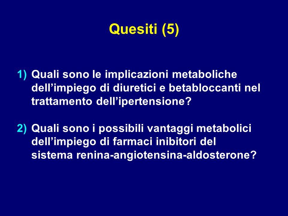 Quesiti (5) Quali sono le implicazioni metaboliche dell'impiego di diuretici e betabloccanti nel trattamento dell'ipertensione