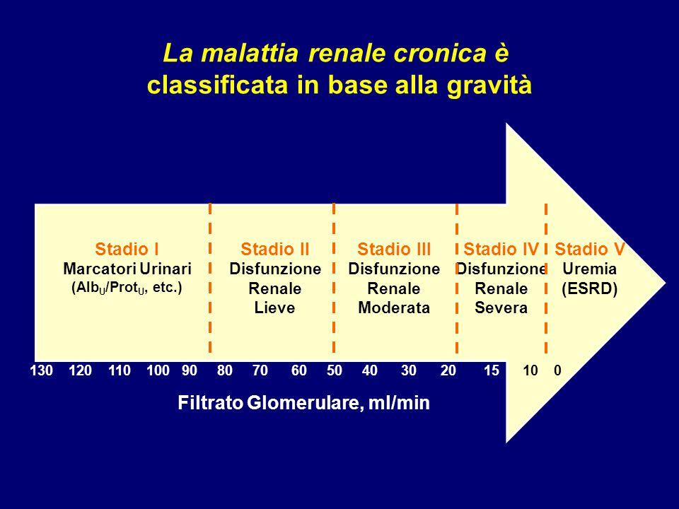 La malattia renale cronica è classificata in base alla gravità
