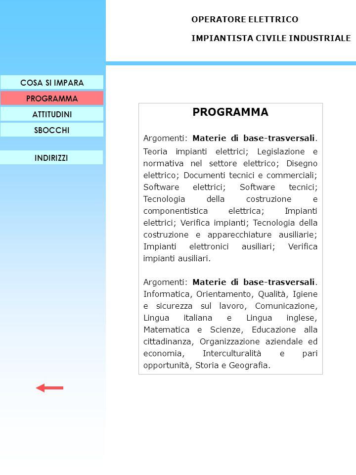 PROGRAMMA OPERATORE ELETTRICO IMPIANTISTA CIVILE INDUSTRIALE
