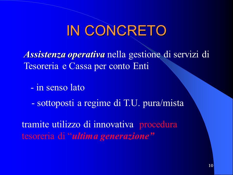 IN CONCRETO Assistenza operativa nella gestione di servizi di Tesoreria e Cassa per conto Enti. - in senso lato.
