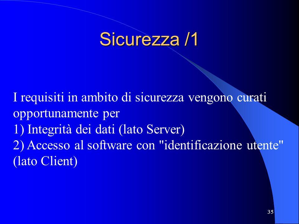 Sicurezza /1 I requisiti in ambito di sicurezza vengono curati opportunamente per. 1) Integrità dei dati (lato Server)