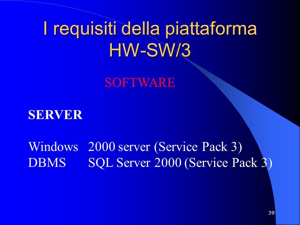 I requisiti della piattaforma HW-SW/3