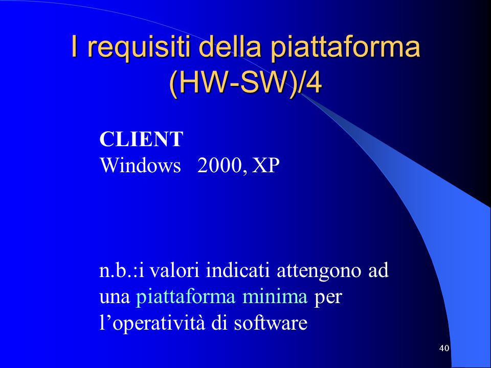 I requisiti della piattaforma (HW-SW)/4