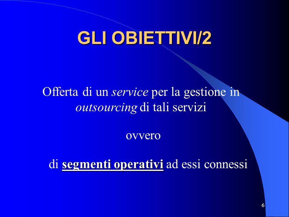 GLI OBIETTIVI/2 Offerta di un service per la gestione in outsourcing di tali servizi.