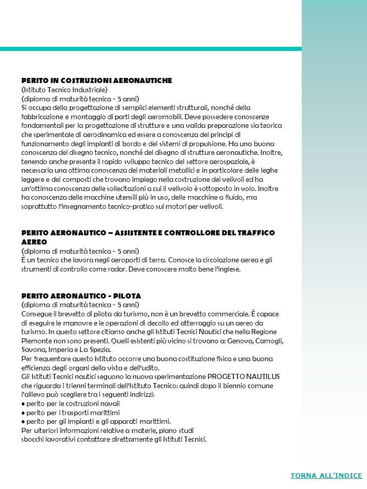PERITO IN COSTRUZIONI AERONAUTICHE (Istituto Tecnico Industriale)