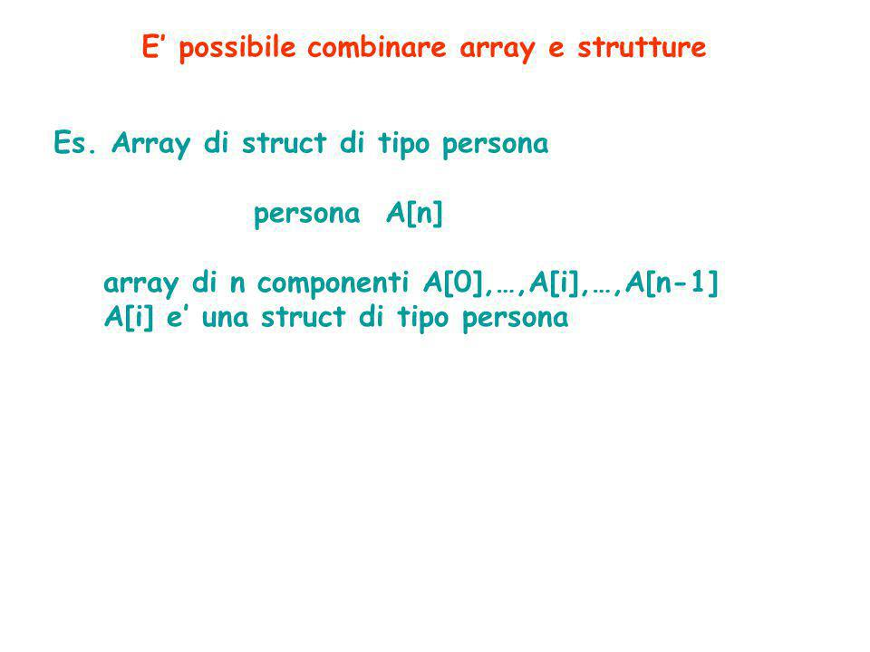 E' possibile combinare array e strutture