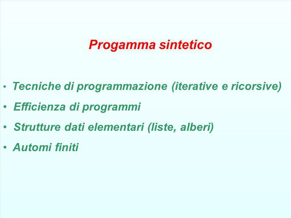 Efficienza di programmi Strutture dati elementari (liste, alberi)