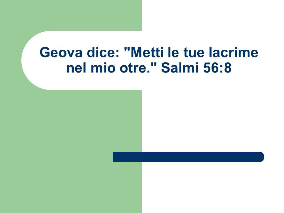 Geova dice: Metti le tue lacrime nel mio otre. Salmi 56:8