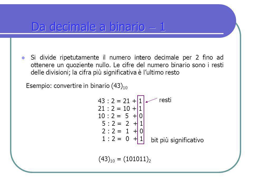 Da decimale a binario  1
