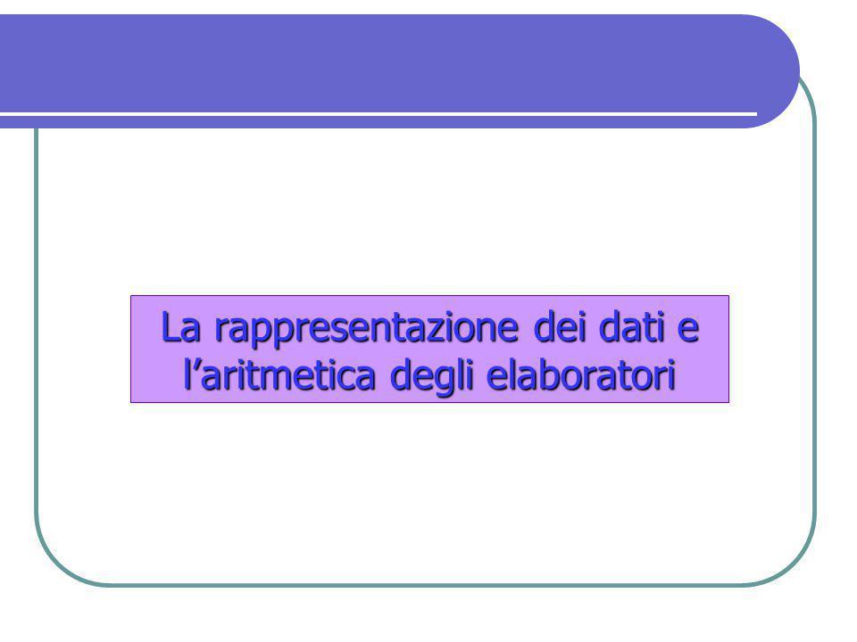 La rappresentazione dei dati e l'aritmetica degli elaboratori