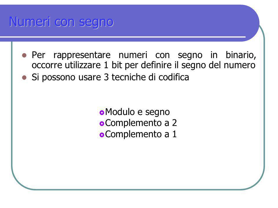 Numeri con segno Per rappresentare numeri con segno in binario, occorre utilizzare 1 bit per definire il segno del numero.