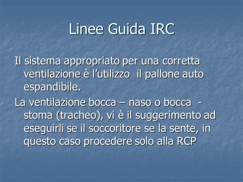 Linee Guida IRC Il sistema appropriato per una corretta ventilazione è l'utilizzo il pallone auto espandibile.
