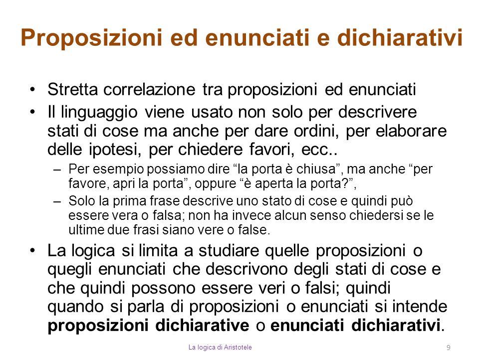 Proposizioni ed enunciati e dichiarativi