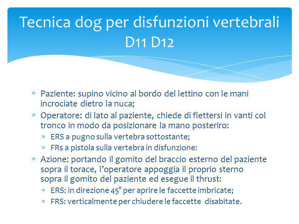 Tecnica dog per disfunzioni vertebrali D11 D12