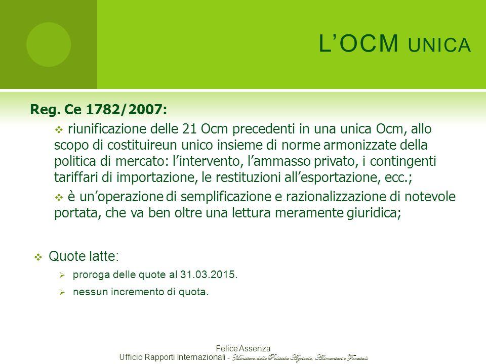 L'OCM unica Reg. Ce 1782/2007:
