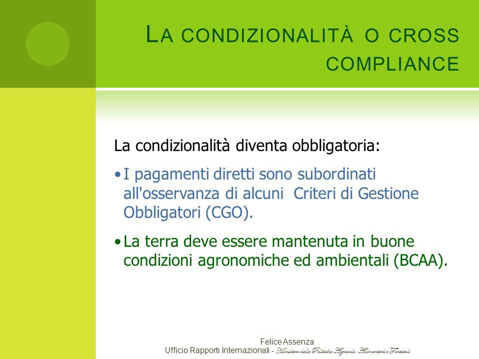 La condizionalità o cross compliance