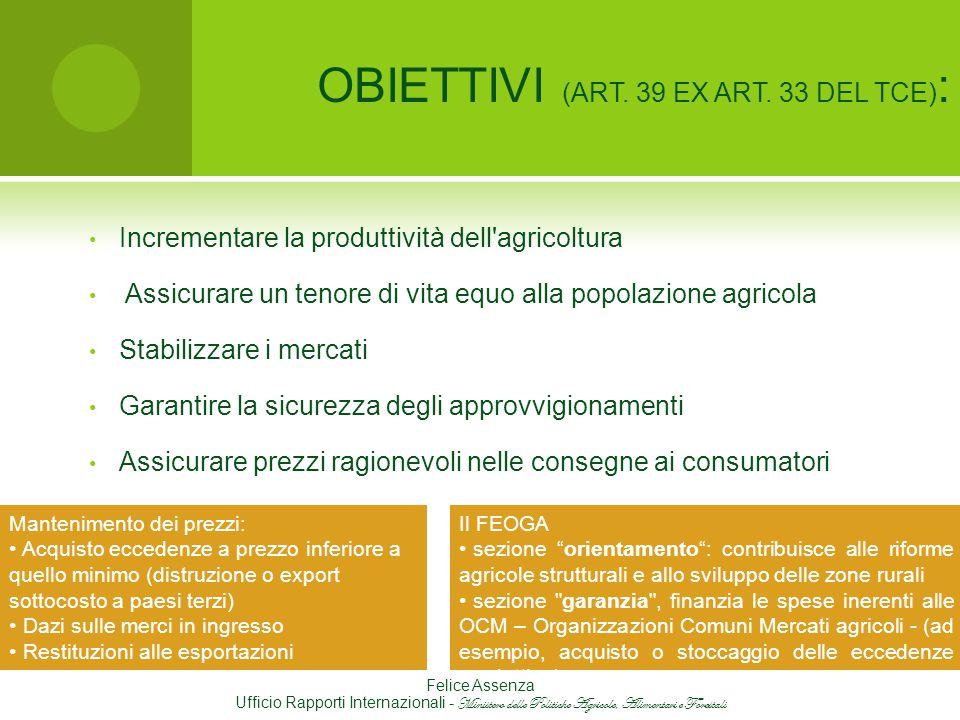 OBIETTIVI (ART. 39 EX ART. 33 DEL TCE):