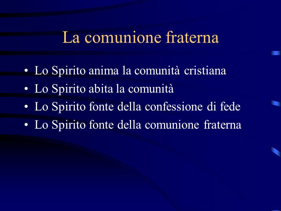 La comunione fraterna Lo Spirito anima la comunità cristiana