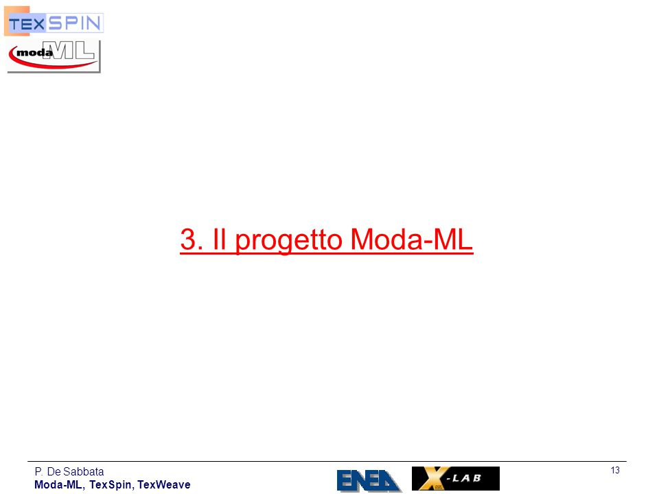 3. Il progetto Moda-ML P. De Sabbata Moda-ML, TexSpin, TexWeave