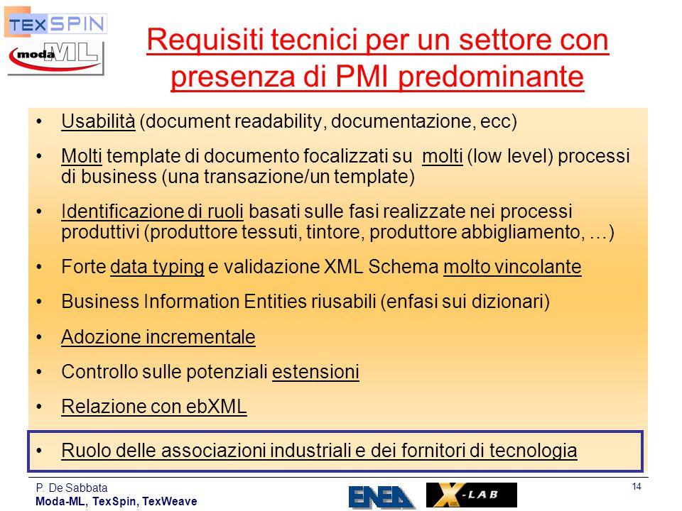 Requisiti tecnici per un settore con presenza di PMI predominante