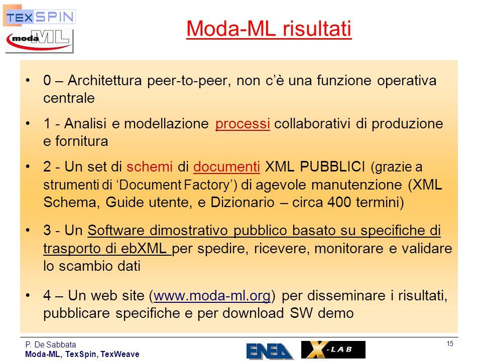 Moda-ML risultati 0 – Architettura peer-to-peer, non c'è una funzione operativa centrale.