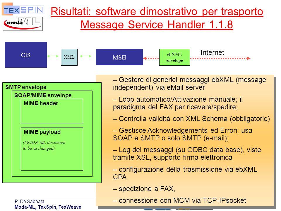 Risultati: software dimostrativo per trasporto Message Service Handler 1.1.8