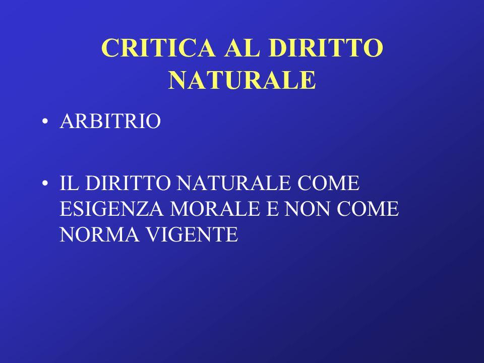 CRITICA AL DIRITTO NATURALE