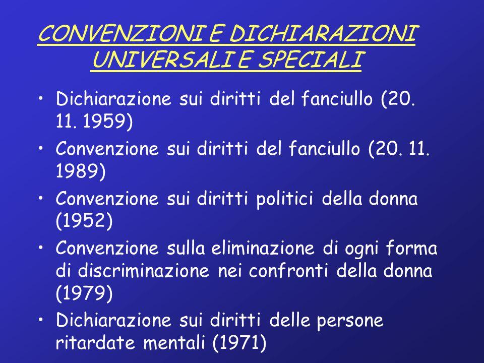CONVENZIONI E DICHIARAZIONI UNIVERSALI E SPECIALI
