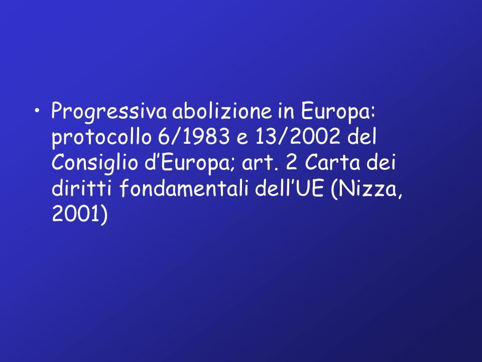 Progressiva abolizione in Europa: protocollo 6/1983 e 13/2002 del Consiglio d'Europa; art.