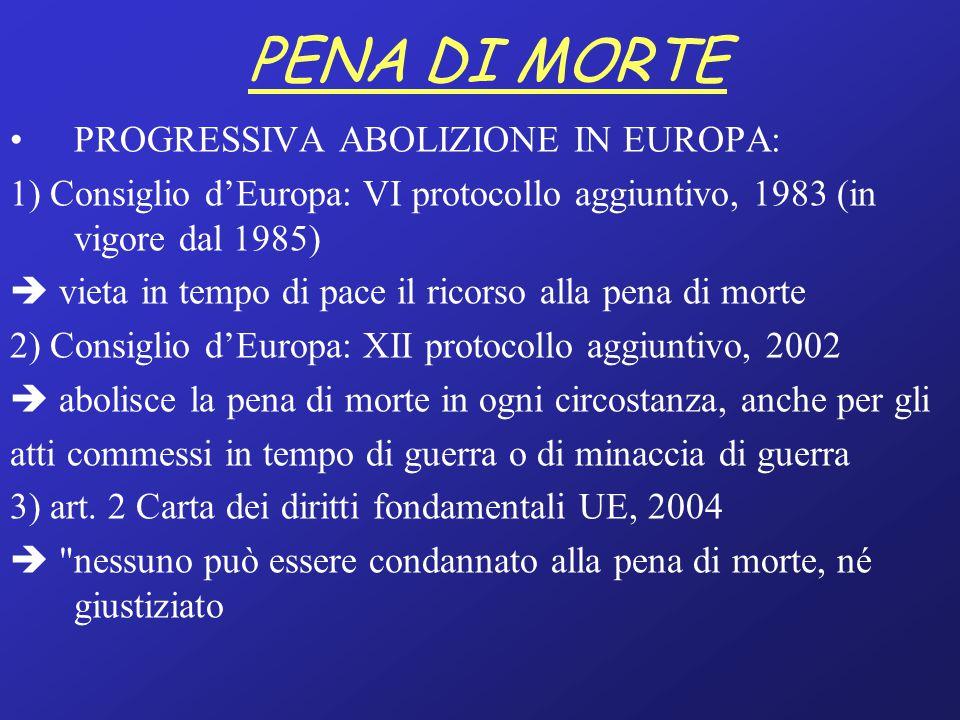 PENA DI MORTE PROGRESSIVA ABOLIZIONE IN EUROPA: