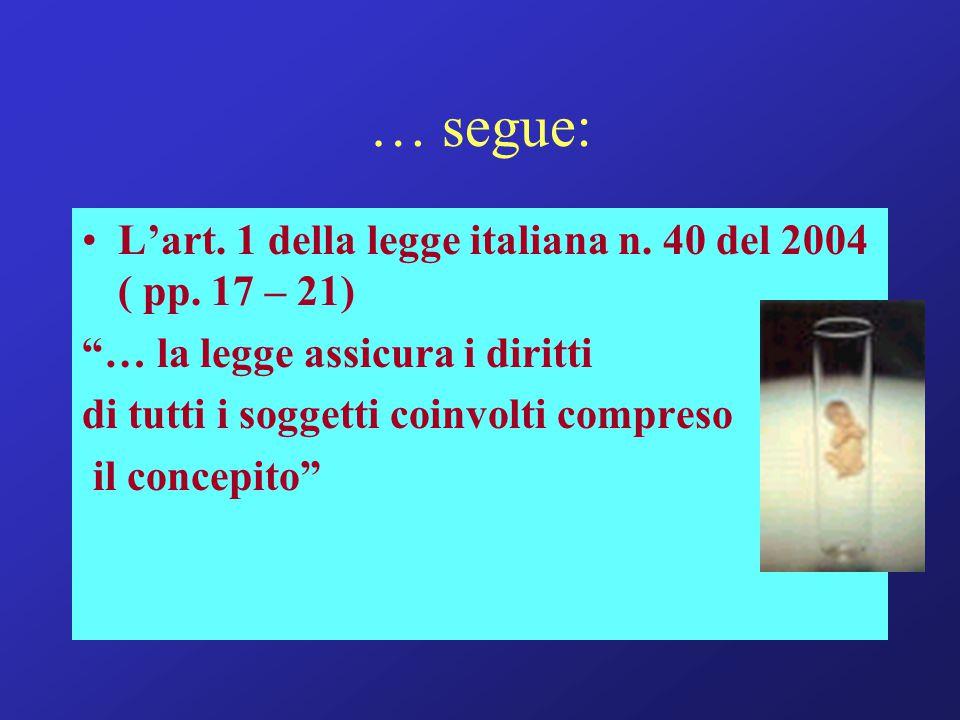 … segue: L'art. 1 della legge italiana n. 40 del 2004 ( pp. 17 – 21)