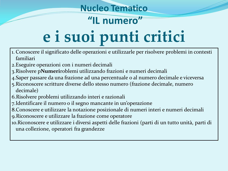 Nucleo Tematico IL numero e i suoi punti critici