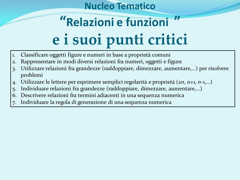 Nucleo Tematico Relazioni e funzioni e i suoi punti critici