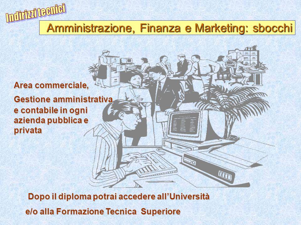 Indirizzi tecnici Amministrazione, Finanza e Marketing: sbocchi.