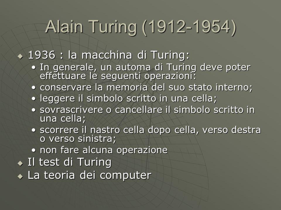 Alain Turing (1912-1954) 1936 : la macchina di Turing: