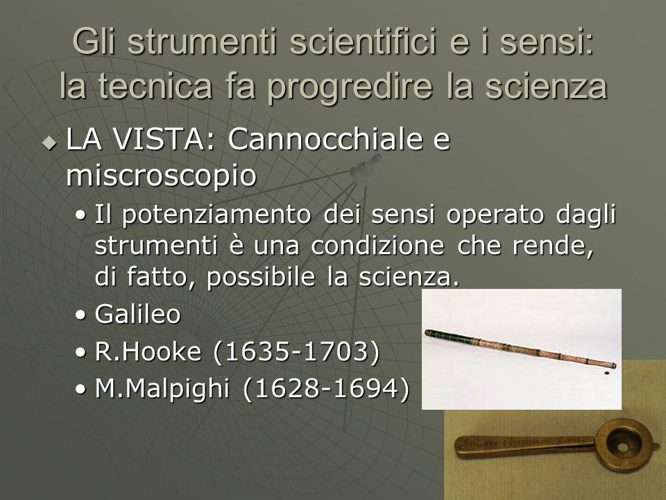 Gli strumenti scientifici e i sensi: la tecnica fa progredire la scienza