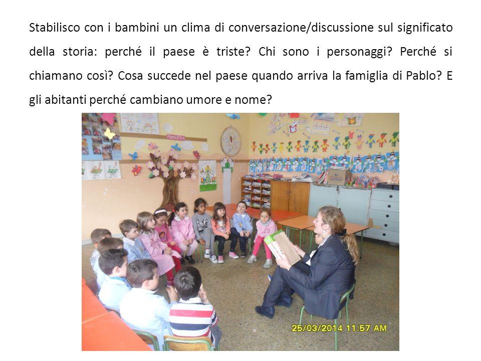 Stabilisco con i bambini un clima di conversazione/discussione sul significato della storia: perché il paese è triste.