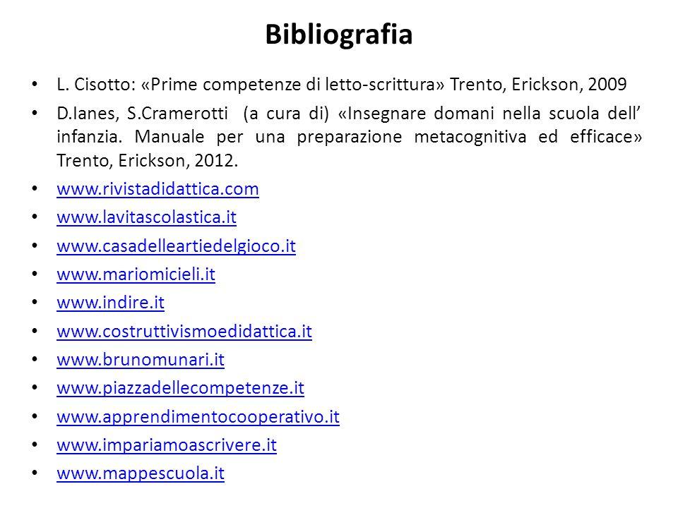 Bibliografia L. Cisotto: «Prime competenze di letto-scrittura» Trento, Erickson, 2009.