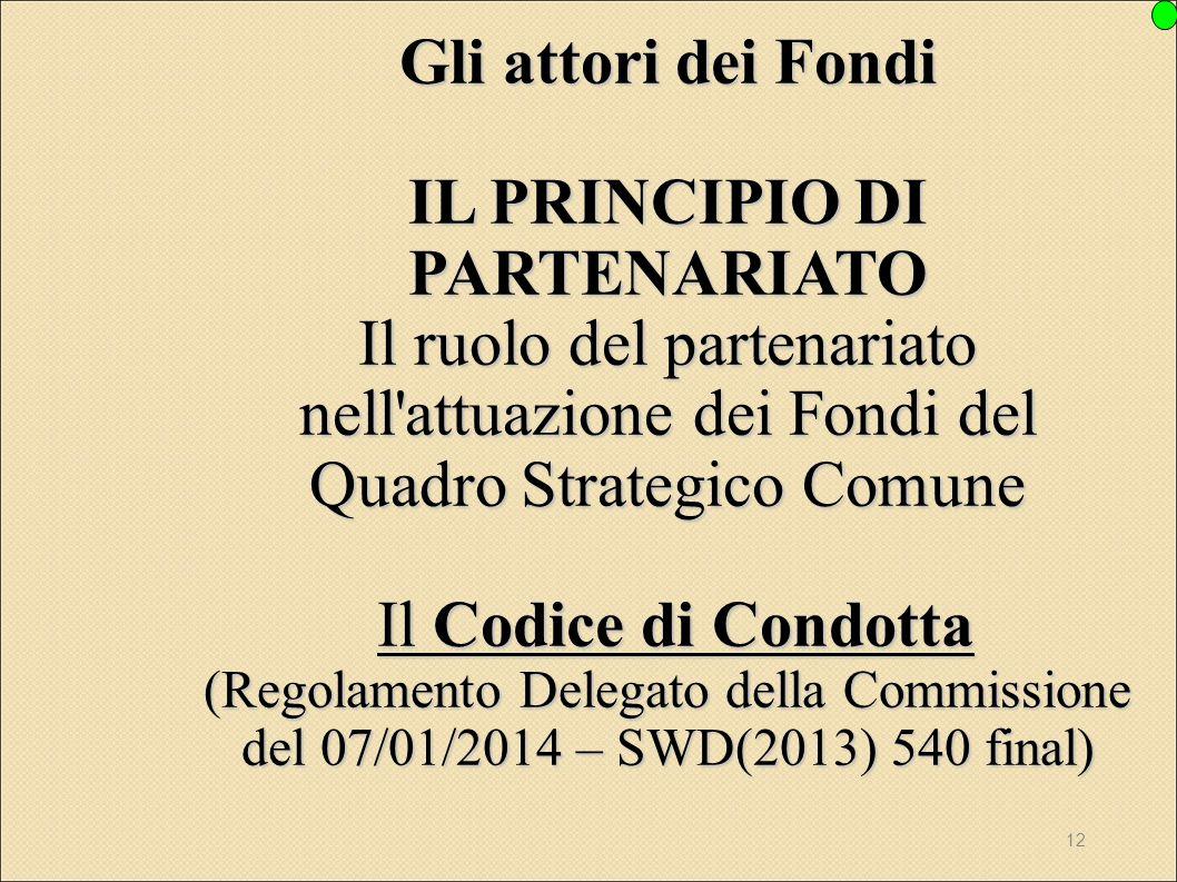Gli attori dei Fondi IL PRINCIPIO DI PARTENARIATO Il ruolo del partenariato nell attuazione dei Fondi del Quadro Strategico Comune Il Codice di Condotta (Regolamento Delegato della Commissione del 07/01/2014 – SWD(2013) 540 final)
