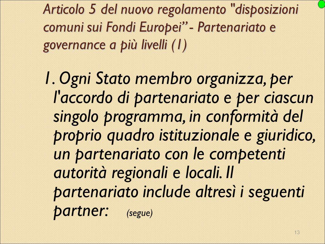 Articolo 5 del nuovo regolamento disposizioni comuni sui Fondi Europei - Partenariato e governance a più livelli (1)