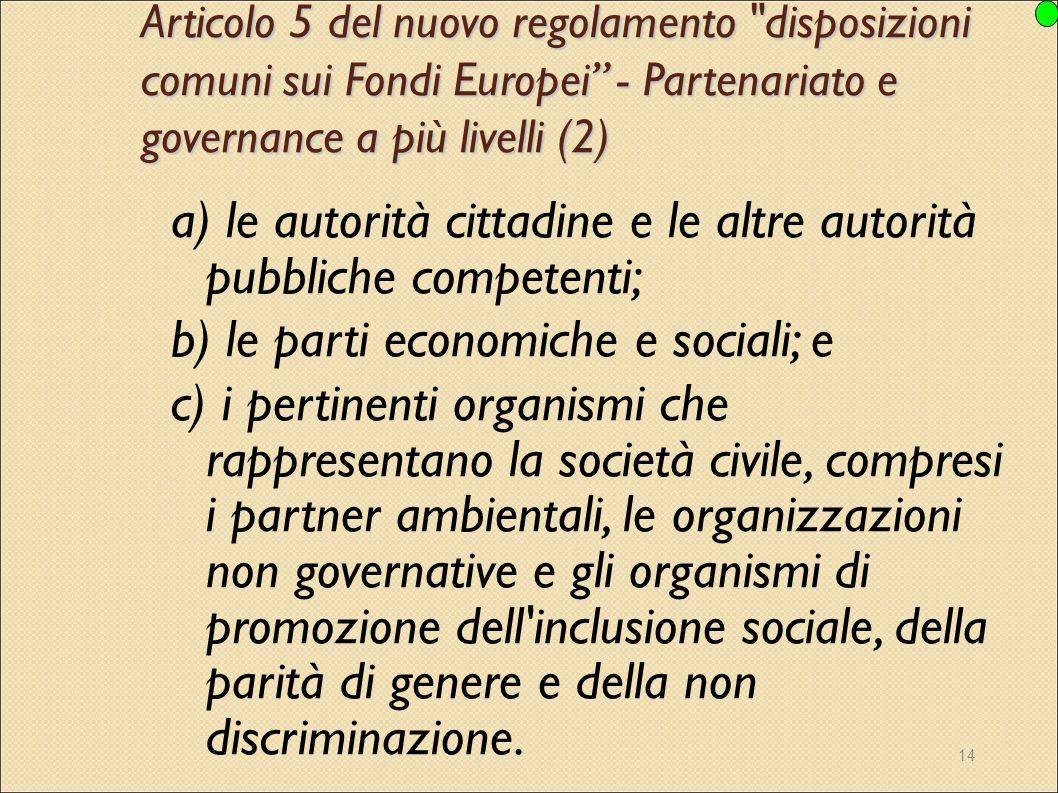 a) le autorità cittadine e le altre autorità pubbliche competenti;