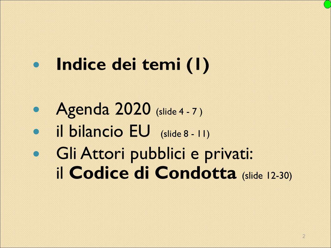 Indice dei temi (1) Agenda 2020 (slide 4 - 7 ) il bilancio EU (slide 8 - 11) Gli Attori pubblici e privati: il Codice di Condotta (slide 12-30)
