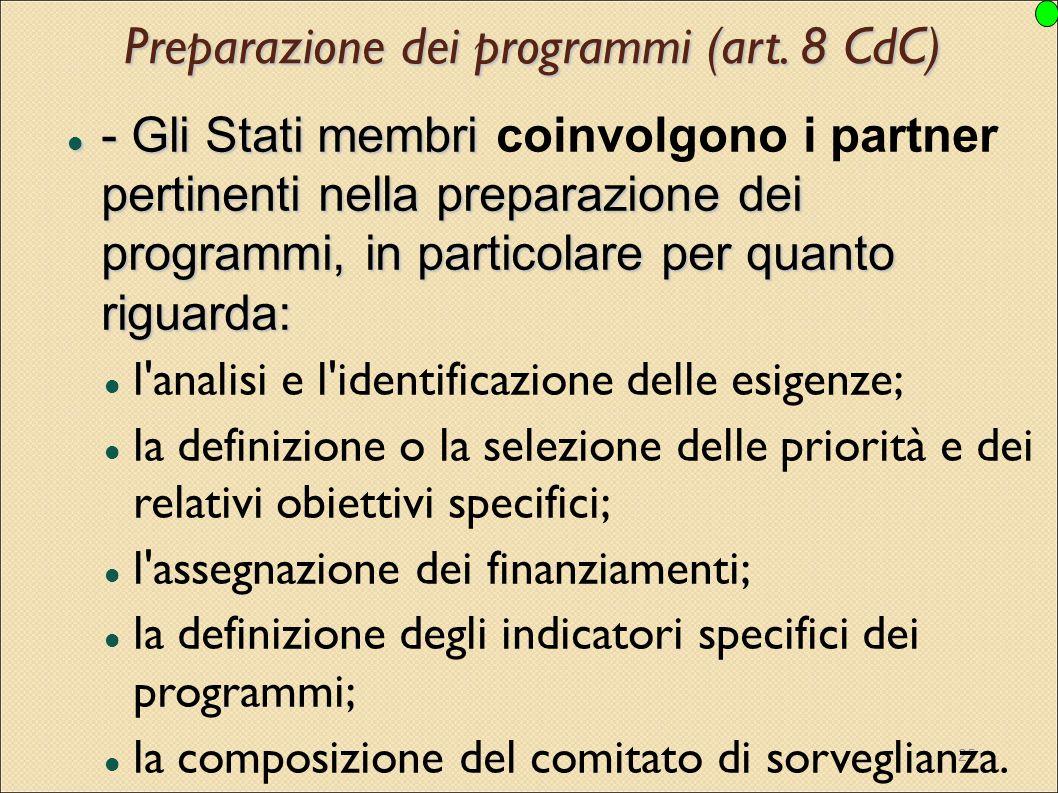 Preparazione dei programmi (art. 8 CdC)