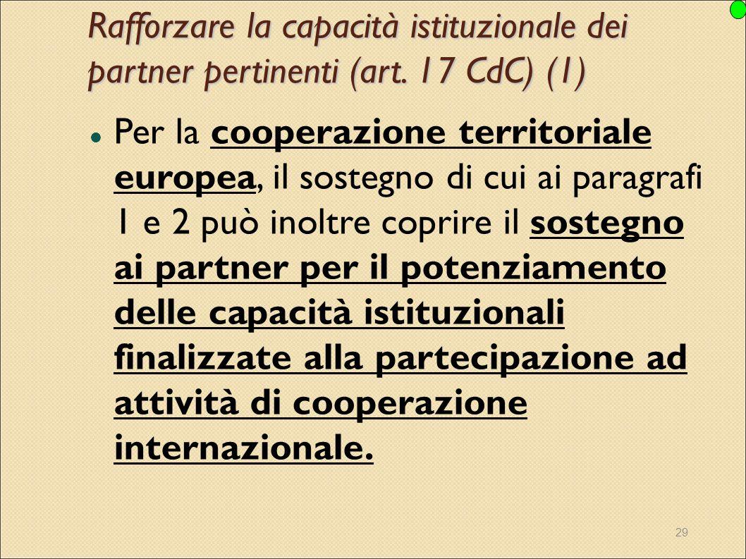 Rafforzare la capacità istituzionale dei partner pertinenti (art