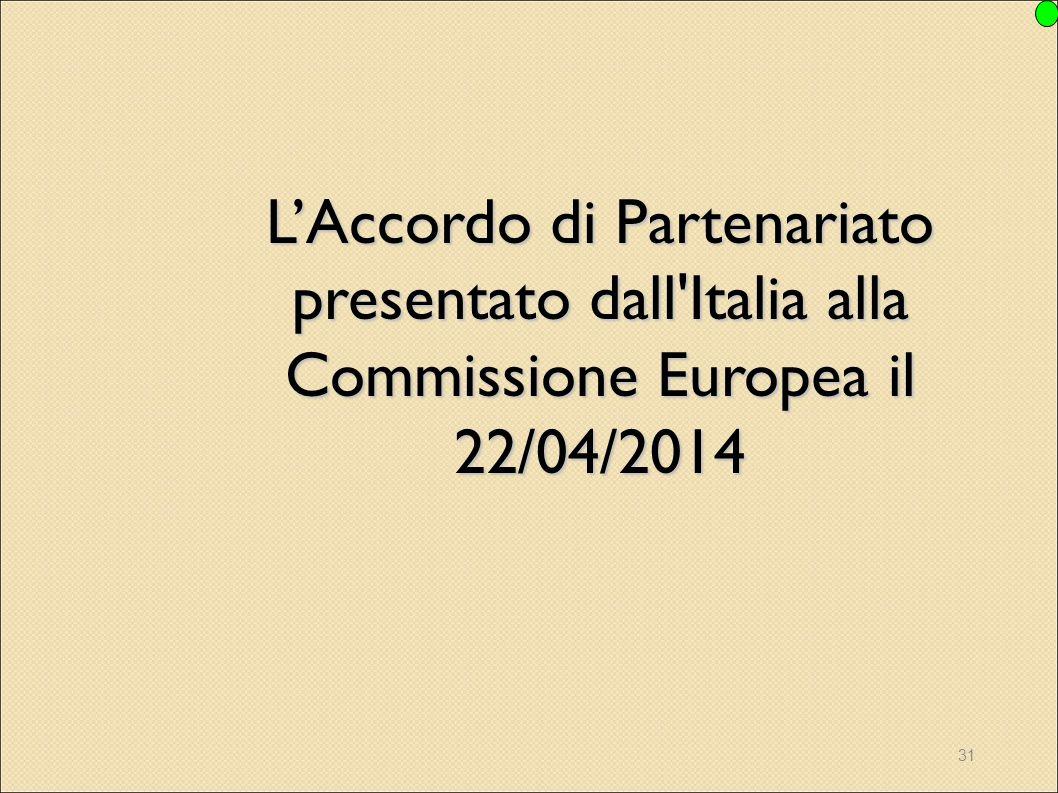 L'Accordo di Partenariato presentato dall Italia alla Commissione Europea il 22/04/2014