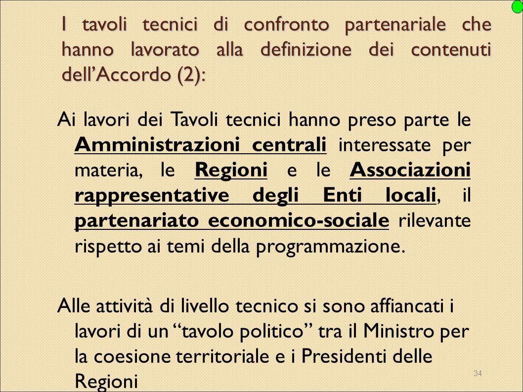 I tavoli tecnici di confronto partenariale che hanno lavorato alla definizione dei contenuti dell'Accordo (2):