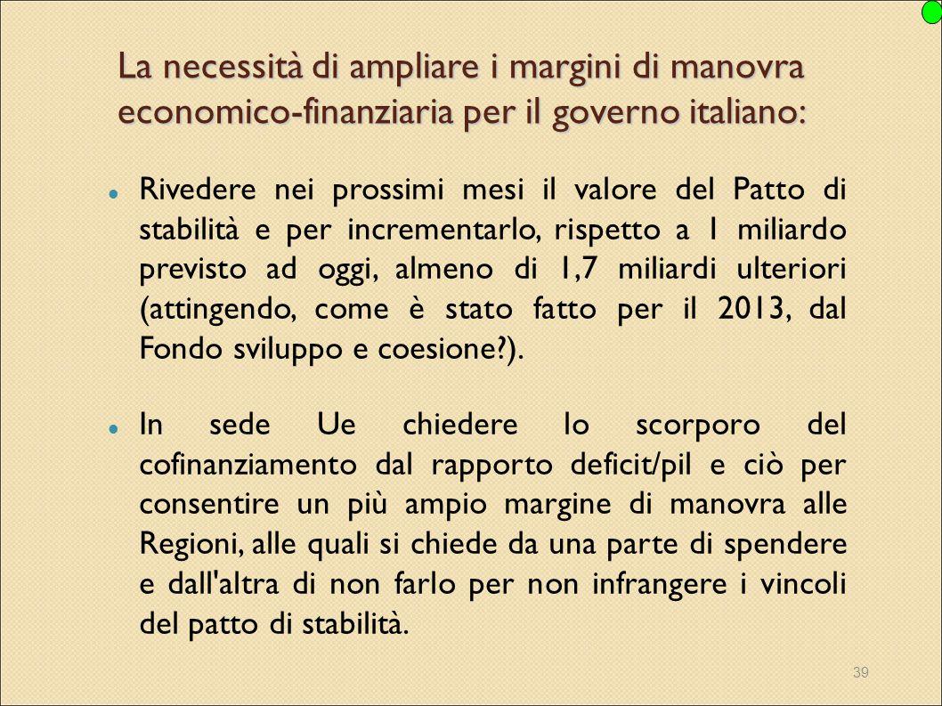 La necessità di ampliare i margini di manovra economico-finanziaria per il governo italiano: